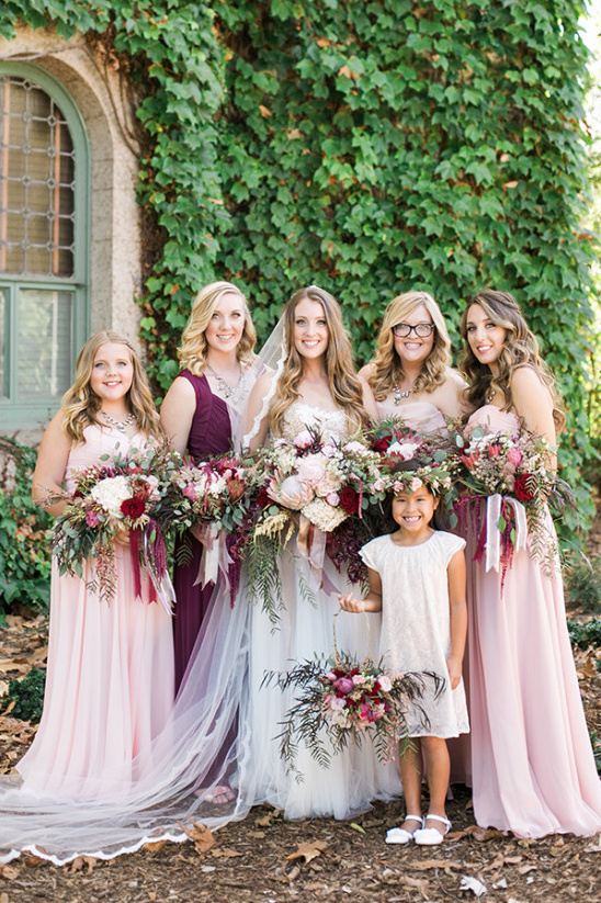 pink and burgundy bridesmaid dresses @weddingchicks