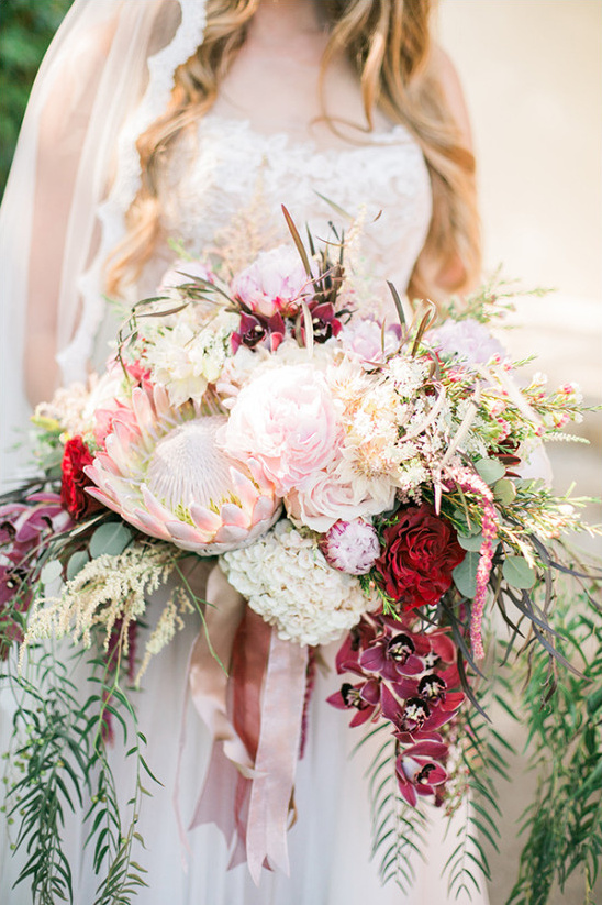 protea and peony wedding bouquet @weddingchicks