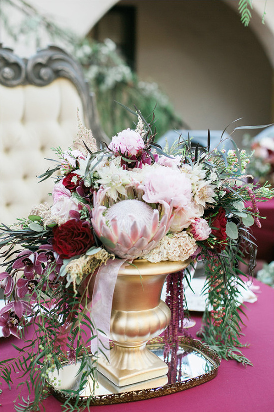 protea and peony wedding centerpieces @weddingchicks