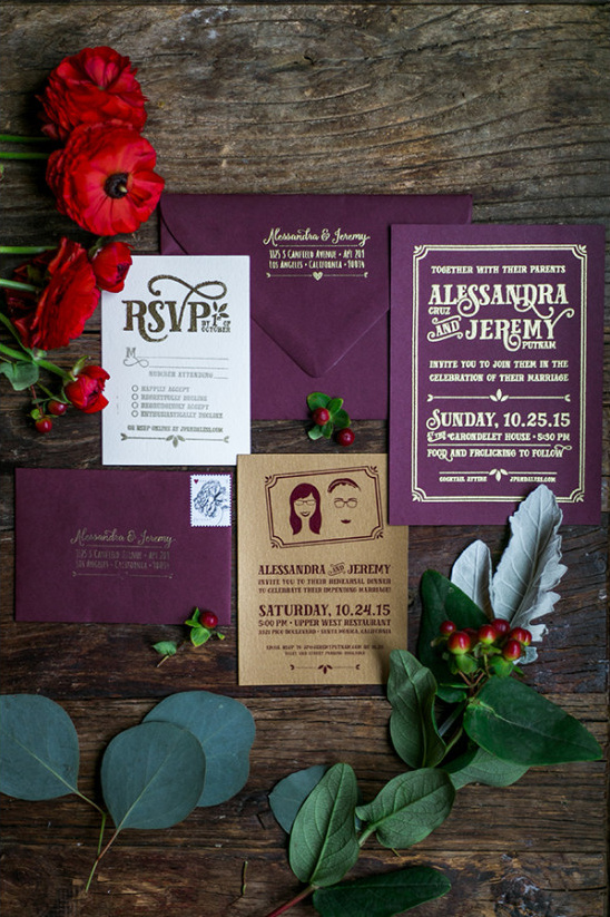 purple and gold wedding invitations @weddingchicks