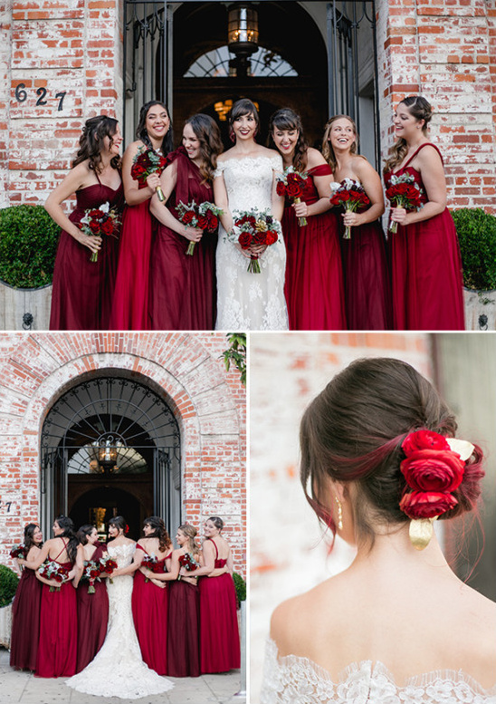 bridesmaids in red @weddingchicks