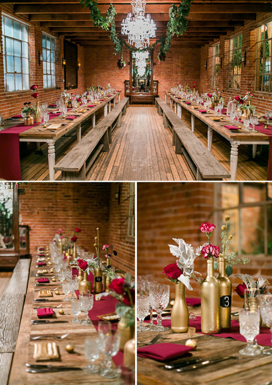 red and gold wedding reception decor @weddingchicks