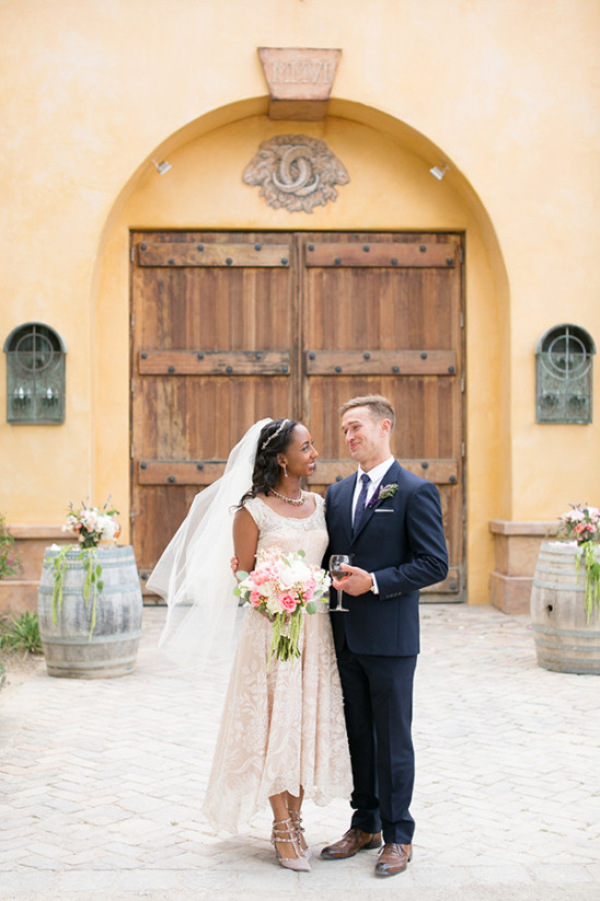 peach and hot pink intimate winery wedding @weddingchicks
