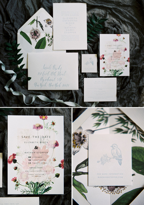 beautiful nature wedding stationery @weddingchicks