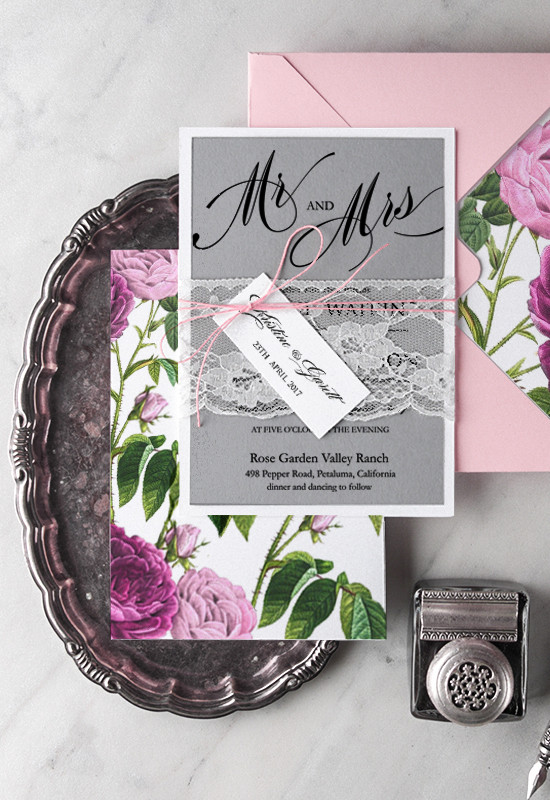 4lovepolkadots botanical wedding invites