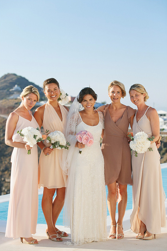 mixed neutral bridesmaid dresses @weddingchicks