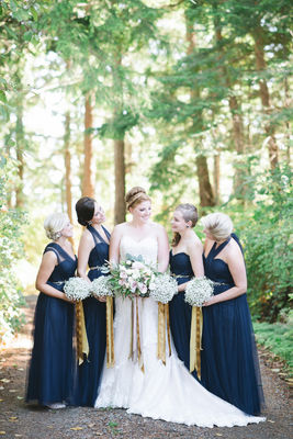 Chic Blue and Gold Outdoor Wedding