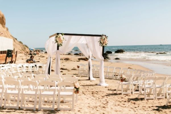 Pink and White Beach Wedding at Crystal Cove
