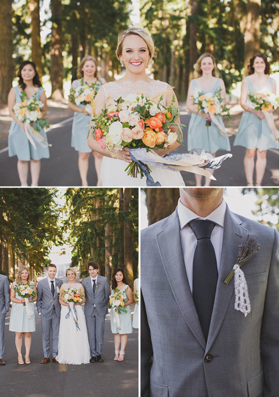 blue and grey wedding party looks