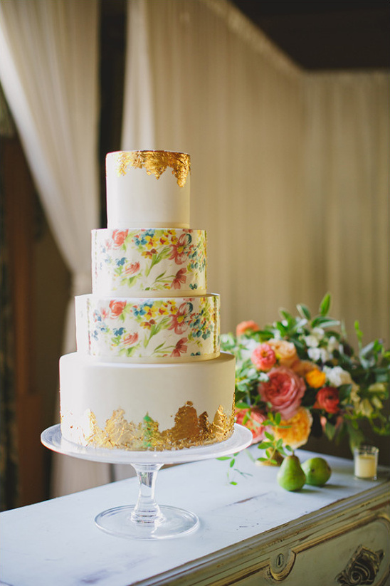 colorful floral and gold wedding cake @weddingchicks