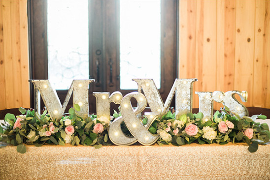 marquee mr and mrs sign