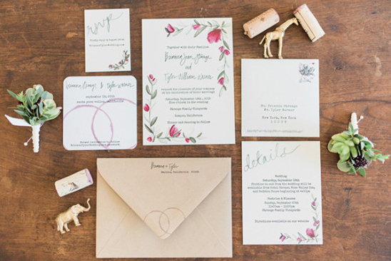 winery themed wedding stationery