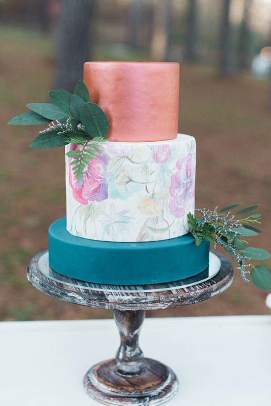 copper and blue floral wedding cake