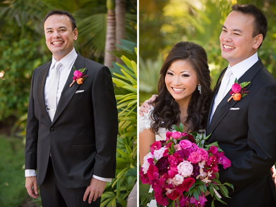 Fuchsia and tangerine boutonniere for groom