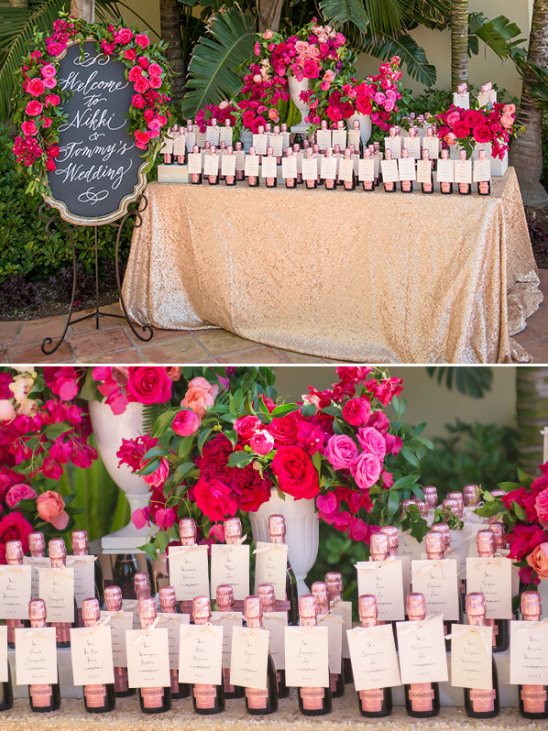 Welcome sign and mini champagne bottle escort cards