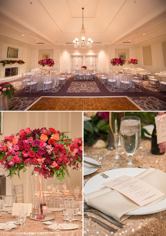 Glam reception space with fuchsia and gold details