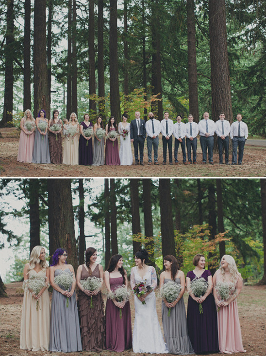 mix and match wedding party attire