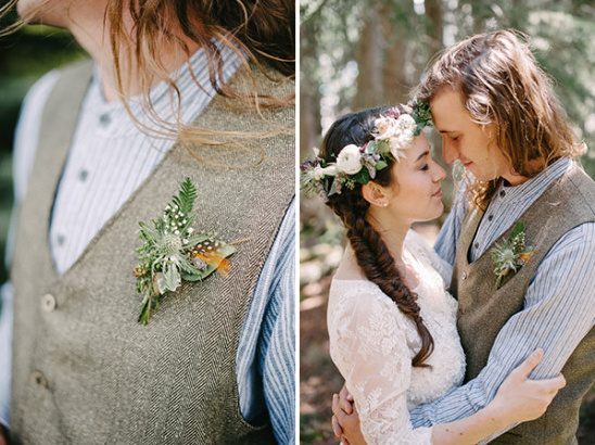 feather and flower boutonniere