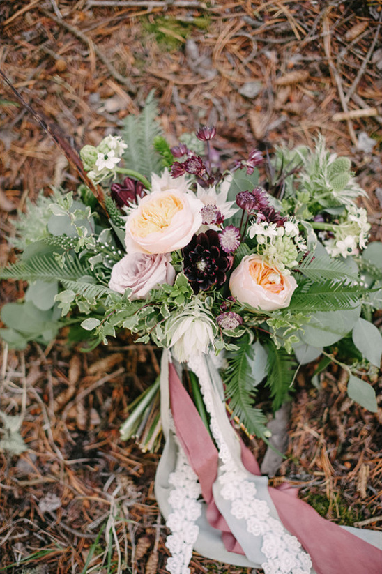 pretty peach and purple red wedding bouquet