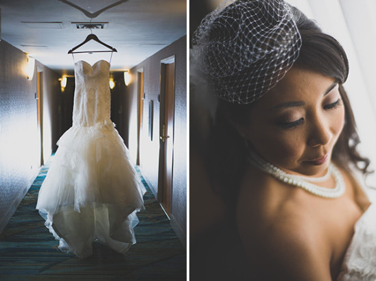 Vintage bridal look with birdcage veil and pearls