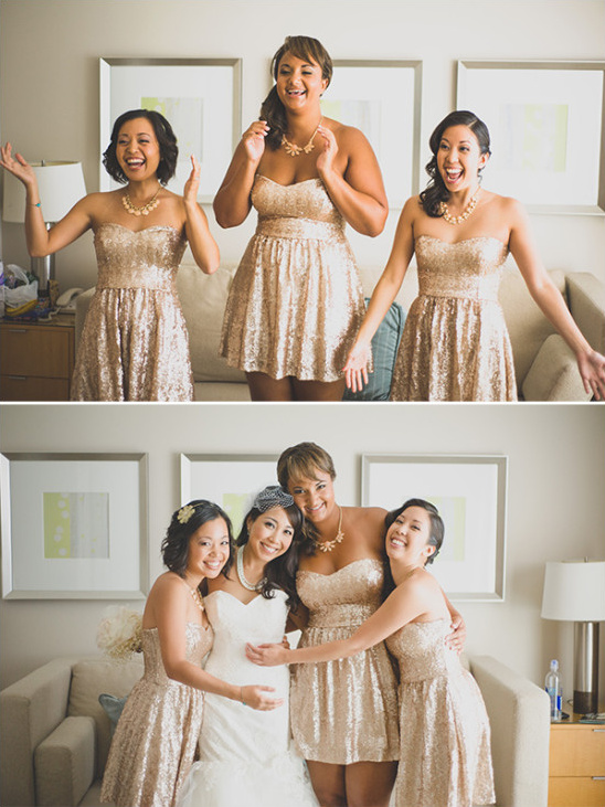 Gold sequined bridesmaid dresses with sweetheart neckline