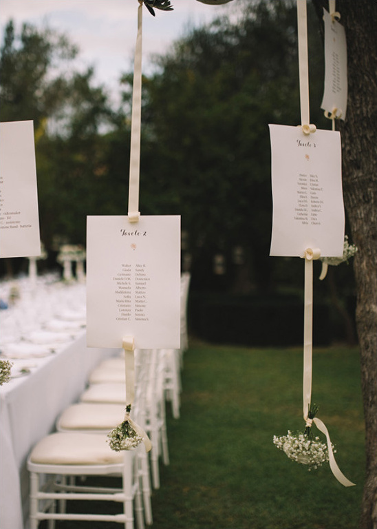 Simple hanging seating chart idea