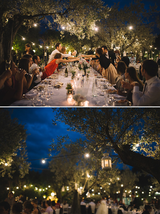 Reception lighting ideas with sting lights