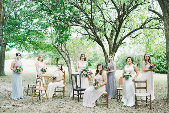 bridesmaids in assorted neutral tones