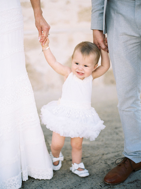 Adorable baby wedding dress and shoes