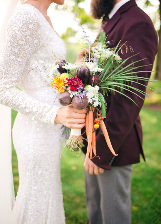 Organic wedding bouquet with flowers and vegetables