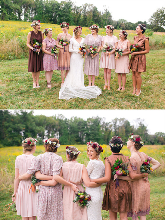 Mismatched bridesmaid dresses in neutral tones