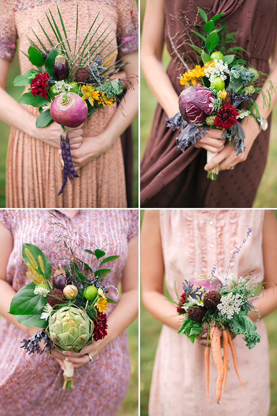 Organic vegetable bridesmaid bouquets