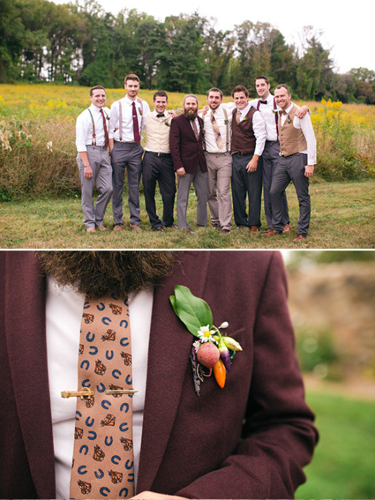 Mismatched groomsmen look with vegetable boutonnieres