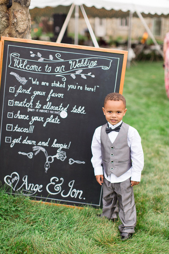 Wedding sign and cute ring bearer