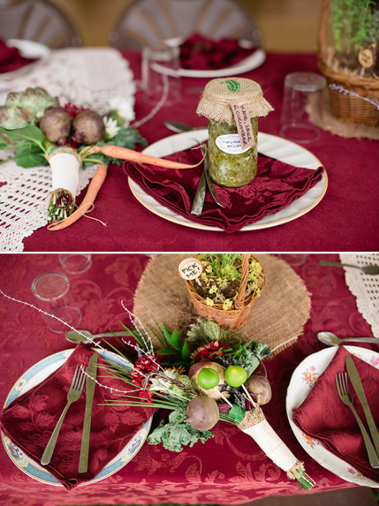Table setting and homemade wedding favor