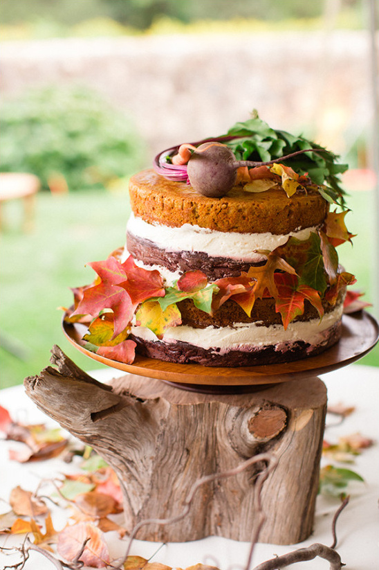 Natural naked cake with vegetable toppers