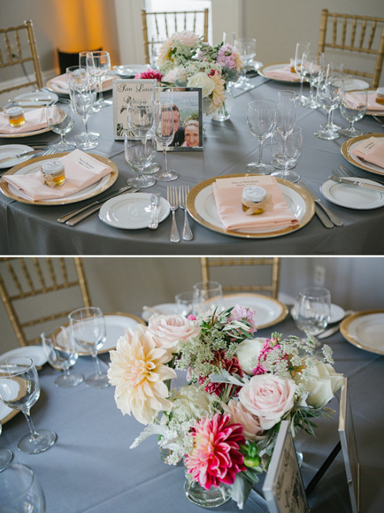dusty blue and pink reception