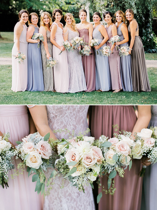 purple bridesmaids with rose bouquets