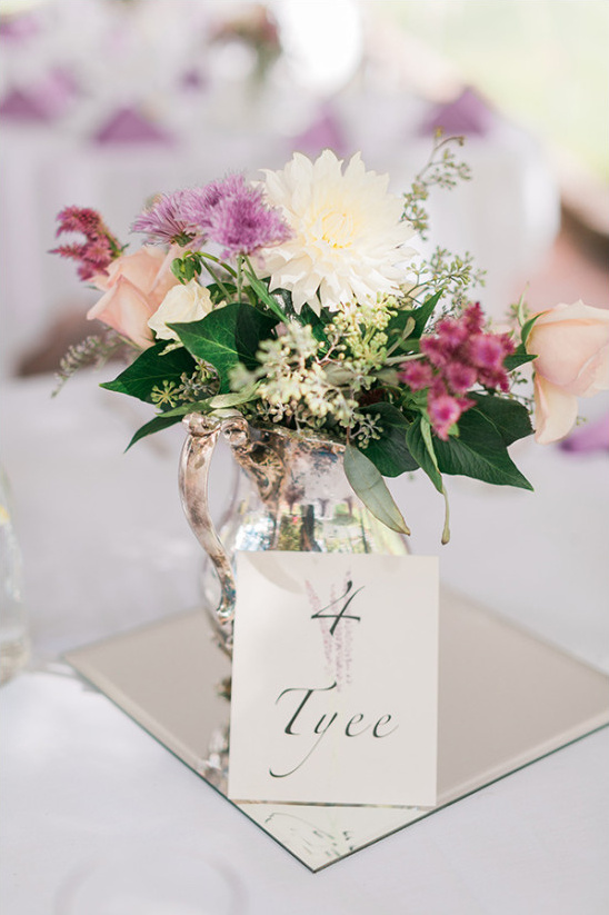 purple and white flower centerpieces