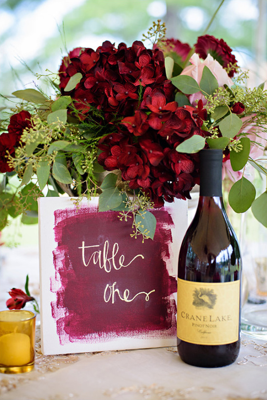 painted table number in red and gold