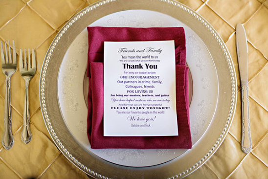 red and gold wedding place setting