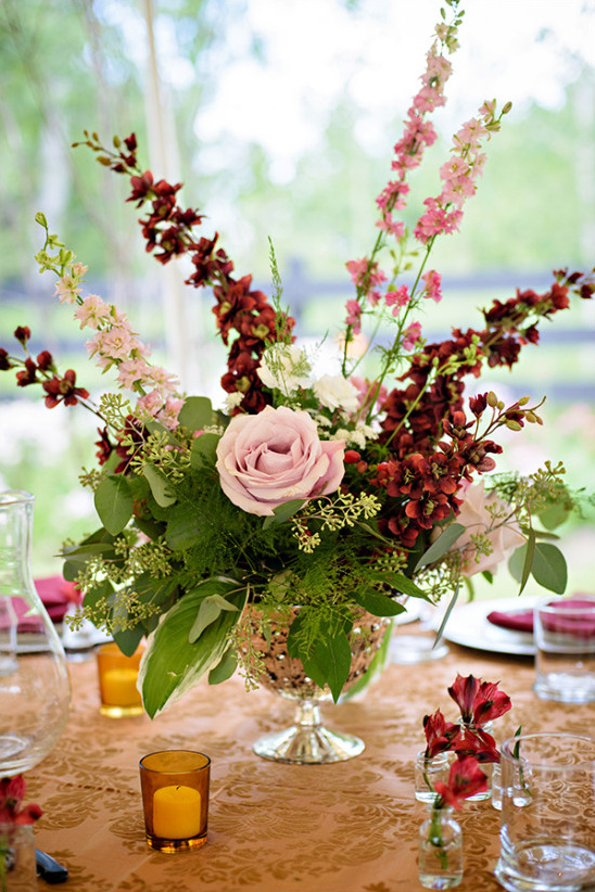 pink and red flower centerpiece