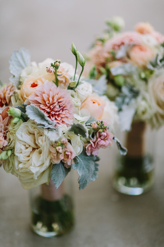 pink peach and white bouquets