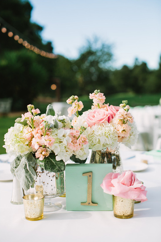 mint pink and peach centerpiece