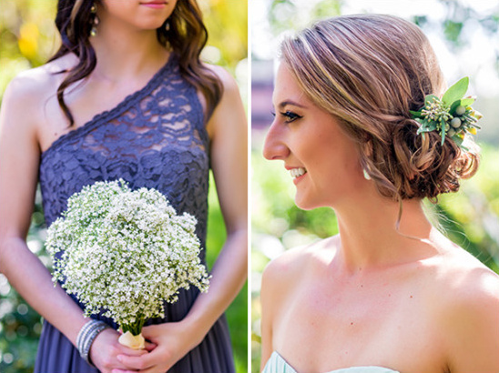 Bridesmaid hair and bouquet details