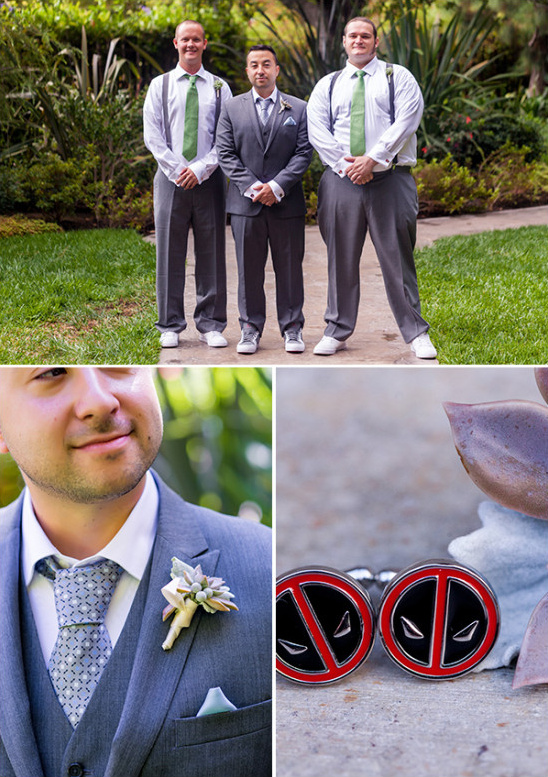 Groomsmen in grey with succulent boutonniers
