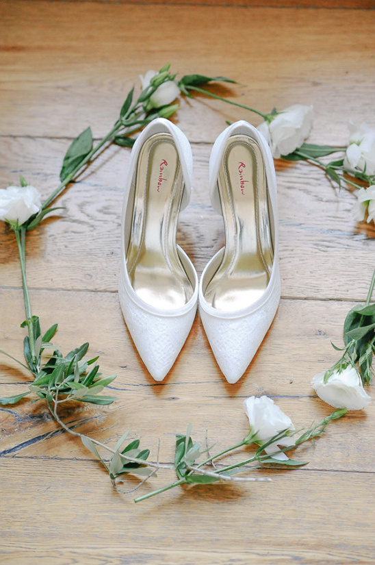 White wedding pumps
