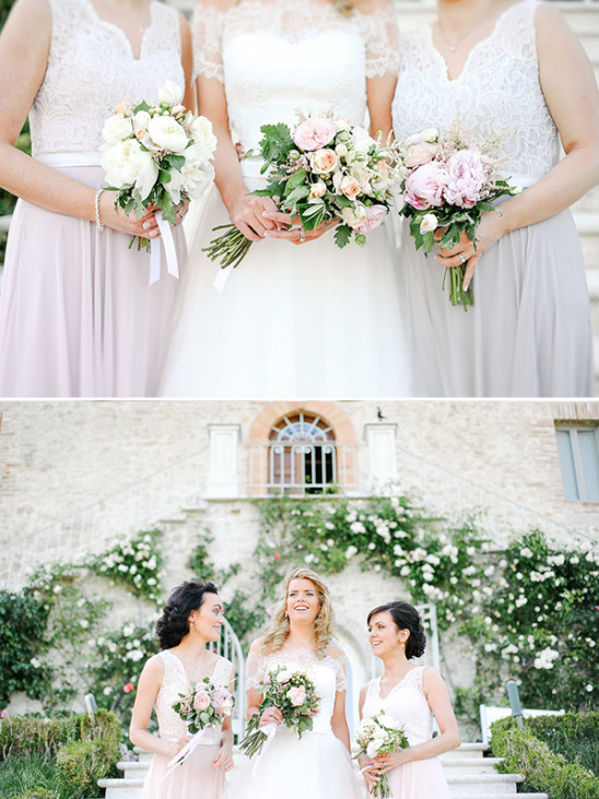 Bridesmaids in pastel colors