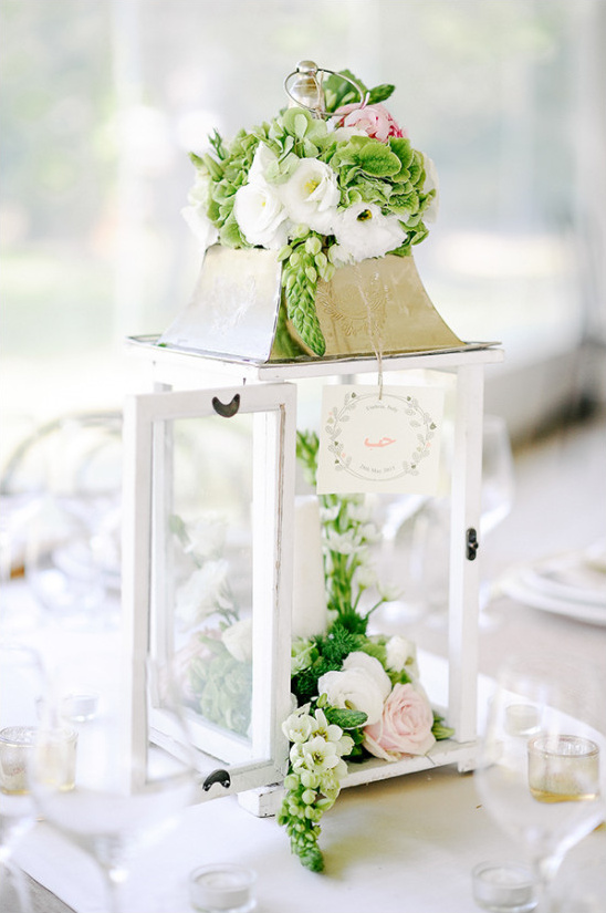 Wedding lantern centerpiece with flowers