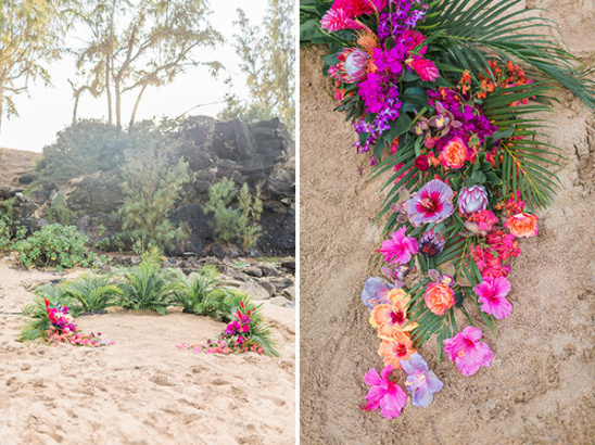 tropical flower and fern beach wedding decor